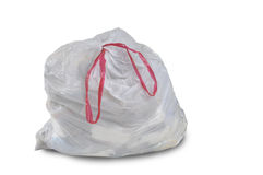 A close up of a white garbage trash bag. On a white background Royalty Free Stock Photo
