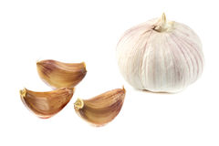 Close up white garlic. On white background Royalty Free Stock Photos