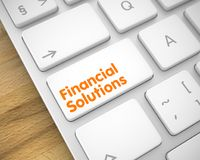 Financial Solutions on the White Keyboard Button. 3d. Close-Up White Keyboard Key - Financial Solutions. Business Concept: Financial Solutions on Modern Stock Photos