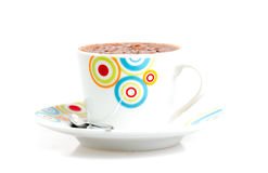 Close up of a white mug for winter with hot chocolate isolated o Stock Photos