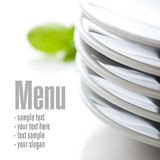 Close up on white plates Stock Images