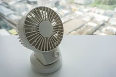 Close up white portable USB desktop fan Royalty Free Stock Images