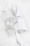 Close up of white present box with silver ribbon for christmas stock image