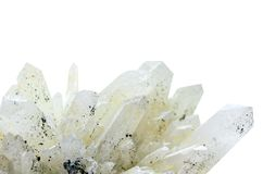 The close up of white Quartz the silica mineral isolated on white  background. The close up of white Quartz the silica mineral isolated on white background Royalty Free Stock Images