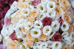Close up on white and red roses wedding bouquet top view.  Stock Photography