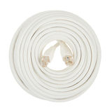 Close-up of a white RJ45 network plug Royalty Free Stock Photos