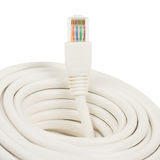 Close-up of a white RJ45 network plug Stock Photography