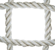 Close up on white rope frame isolated on  background Stock Photography