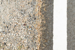 Close up white route lane line on asphalt road beside road shoulder Royalty Free Stock Photos