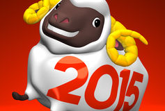 Close-up Of 2015 White Sheep. 3D render illustration For The Year Of The Sheep, 2015 In japan. For New Year Greeting Postcard. On Red stock illustration