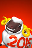 Close-up Of 2015 White Sheep With Text Space. 3D render illustration For The Year Of The Sheep,2015. For New Year Greeting Postcard. On Red royalty free illustration