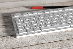 Close-up of white spanish keyboard on wooden table Stock Photos