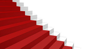 Close-up white stairs in diagonal perspective with red carpet Royalty Free Stock Photo