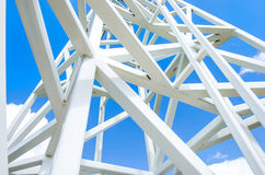 Close up on white steel tower. Royalty Free Stock Photos