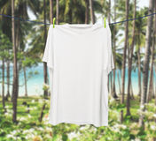 Close up of a white t-shirt on the rope. Stock Images