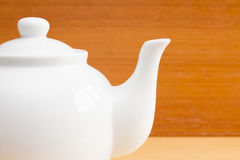Close up white teapot Stock Photos