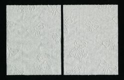 Close up white toilet paper texture. White textured WC paper with children ornament. Stock Photography