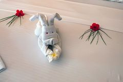 Close up white towel rabbit in hotel Stock Image