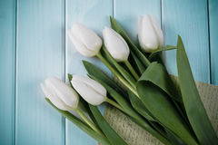 Close up of white tulips and blank paper or letter Royalty Free Stock Photography