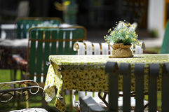 Close up white wooden chair and table Royalty Free Stock Photos