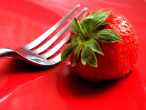 A Close up of a Whole Single Strawberry royalty free stock photo