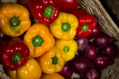 Close-up of wicker basket full of bell pepper Stock Photography