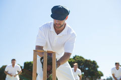 Close up of wicket keeper standing by stumps. Against clear sky royalty free stock photography