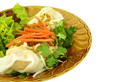 Close up wide rice noodle roll isolated Stock Photo