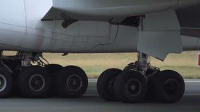 Widebody airplane landing gear stock video