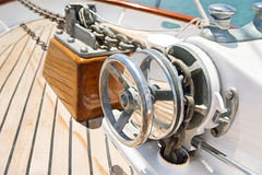 Close-up of winch on yacht Royalty Free Stock Image
