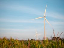 Wind turbine and corn field with blue sky. Close up wind turbine in corn field with blue sky stock photography