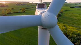 Close-up of wind turbine from the front. royalty free stock photography