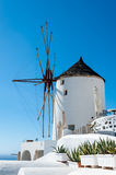 Close up of a windmill in Oia - Santorini. Greece Royalty Free Stock Photos
