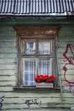 Close-up of window decorated with red flowers Royalty Free Stock Images