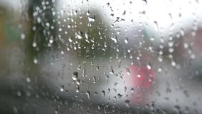 Window rain speed train road. Close up of window glass with rain drops high speed train stock video footage