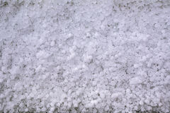 Close-up of window-sill after hailstorm Stock Image