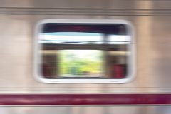 Close up window of Train bogey to motion abstract blur style Stock Photos