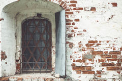 Close-up of the window in the wall of the Rostov Kremlin Royalty Free Stock Photography