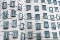 Close up of the windows seen on the outside of the Dancing House in Europe Stock Photo