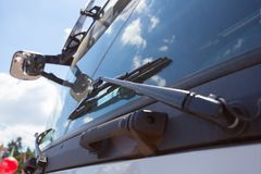 Close up of Windshield truck, windshield wipers. Stock Photo