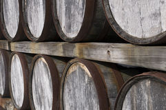 Close up of Wine Barrels Royalty Free Stock Photography