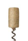 Close up of wine cork. Wine cork at bottle opener isolated on white background Stock Photography