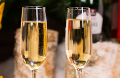 Close up Wines on Elegant Flute Glasses Royalty Free Stock Photography