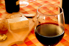 Close-up winetasting with cheese and bread Royalty Free Stock Images