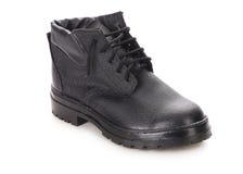 Close up of winter black boot. Stock Photos