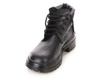 Close up of winter black boot. Royalty Free Stock Photography