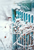 Close up of a winter fence with grass Stock Photo