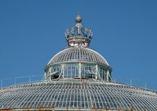 Close up of the Winter Garden with crown on top, part of the Royal Greenhouses at Laeken, Brussels, Belgium.