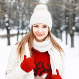 Close-up winter portrait of beautiful girl in fashionable warm c Royalty Free Stock Images