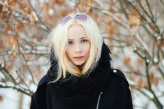 Close up winter portrait: young blonde woman dressed in a warm woolen jacket posing outside in a snowy city park with foliage back royalty free stock images